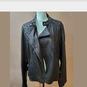 Michael Kors moto soft lightweight leather jacket